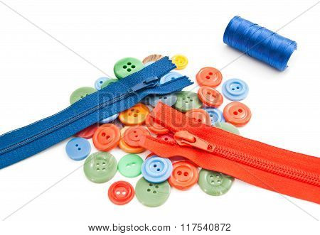 Buttons, Spool Of Thread And Zippers