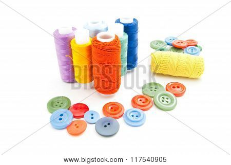 Spools Of Thread And Buttons