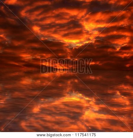 Beautiful Fiery Sunset Above The Sea