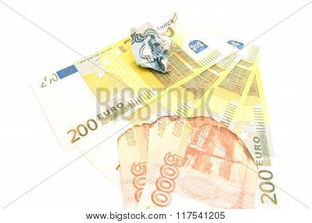 Burnt Russian Notes And Euros