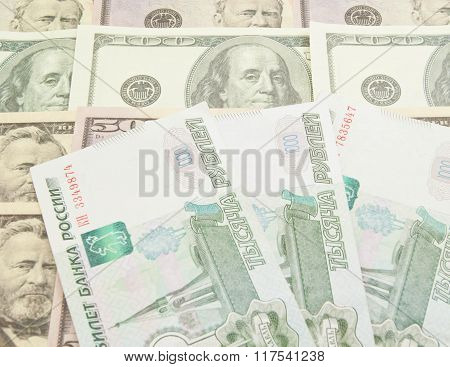 Russian Banknotes And Dollars Notes