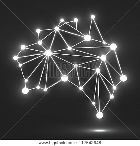 Abstract polygonal Australia map with glowing dots and lines