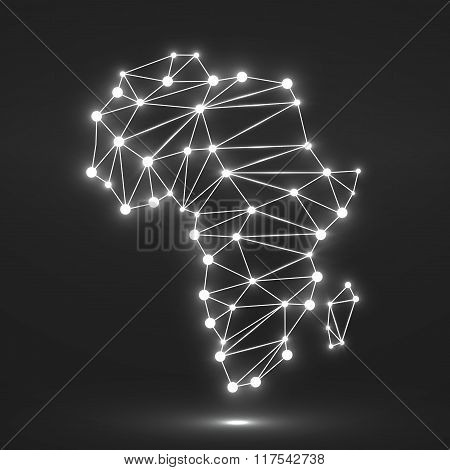 Abstract Polygonal Africa Map With Glowing Dots And Lines, Network Connections