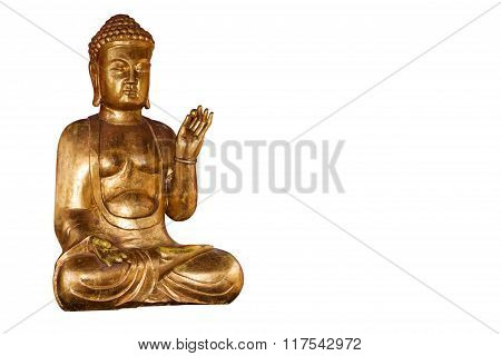 Buddha gold statue isolated clipping path included