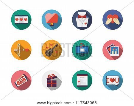 Round colorful romance vector icons