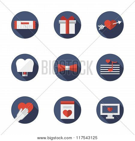 Flat blue round love relationships vector icons