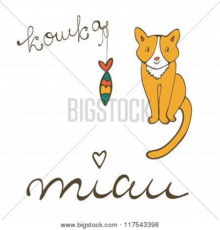 Cute cat character illustration with russian lettering of cat word , koshka means cat in Russian, an