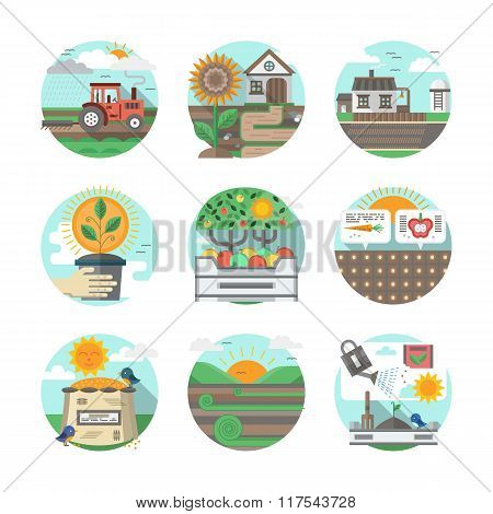 Farming flat color vector icons set