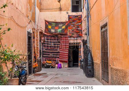 MARRAKESH, MOROCCO, APRIL 2, 2015: Carpets for sale