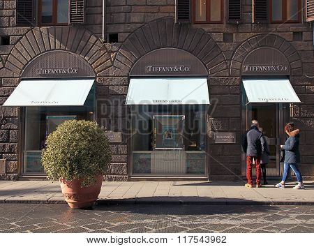 Tiffany Jewellery Retail Store In Center Of Florence, Italy