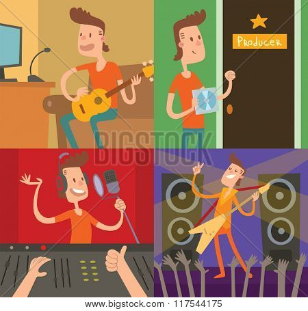 Pop star young boy success way vector illustration. Studio records, teenager singer, producer room. Tv show star man have a super hit top-chart. Scene, guitar, music hero boy vector concept