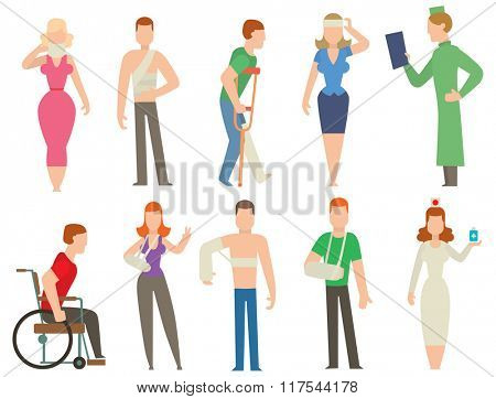 Trauma accident and  human body safety vector people silhouette. Trauma cartoon flat style people illustration isolated on white background