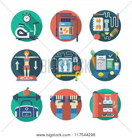 Sport lifestyle flat color vector icons set
