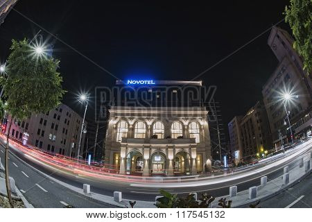 Bucharest, Romania - September 20, 2015: Nightscape On Calea Victoriei, In Bucharest Old City, Taken