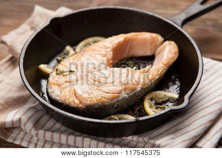 Fried salmon slice