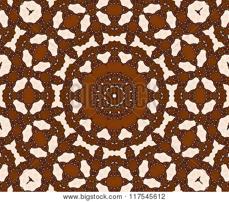 Seamless circle ornament brown beige