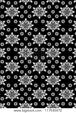 Black And White Floral Stencil Pattern