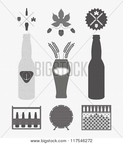 Vector beer icons set - bottle, glass, pint. Design elements in flat style. Beer logo.
