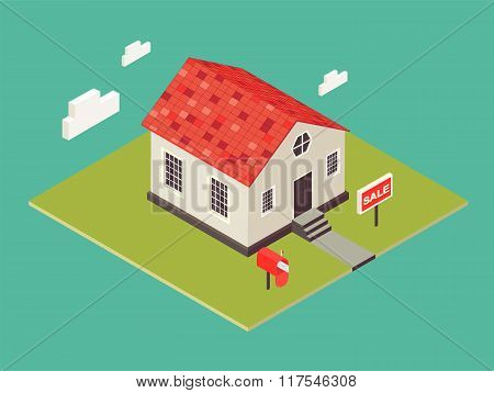 Illustration of house in 3d isometric style. Private house real estate icon for sale. American small