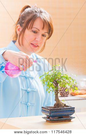 Beautiful woman wearing traditional chinese uniform watering bonsai tree