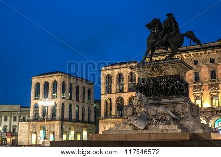 Milan, Italy: Monument to King Victor Emmanuel II, Cathedral Square