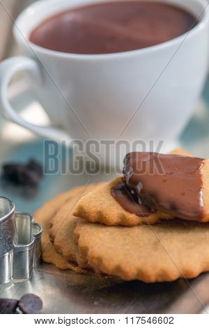 Shortbread Cookies And Hot Chocolate.