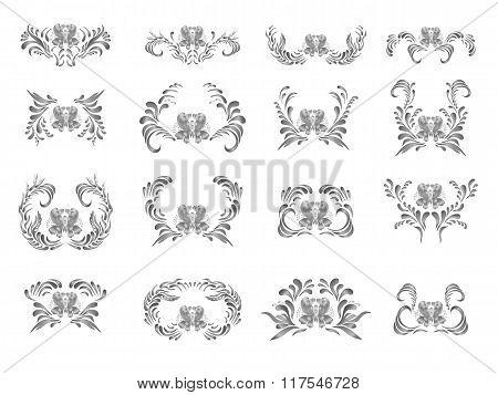 Black floral ornament set