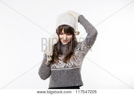 Woman In Winterwear Talking On The Phone