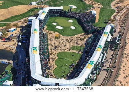 Scottsdale, Arizona, Usa-february 3, 2016-aerial View Of He Waste Management Phoenix Open On Februar