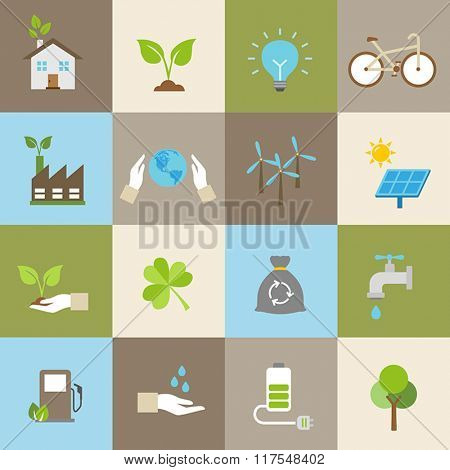 Ecology icons, protection of the environment, sustainable development.