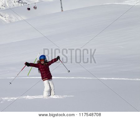 Happy Girl On Off-piste Slope After Snowfall At Nice Sun Day