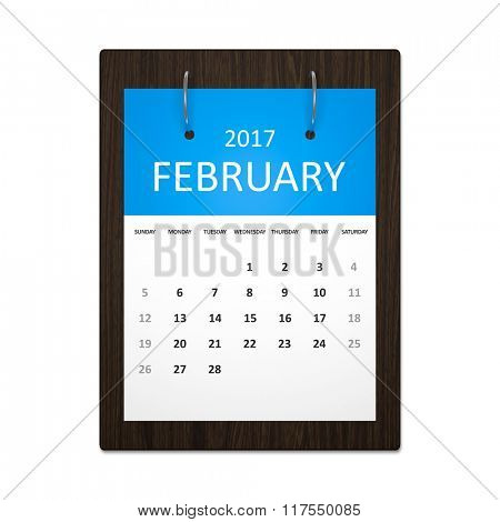An image of a stylish calendar for event planning 2017 february