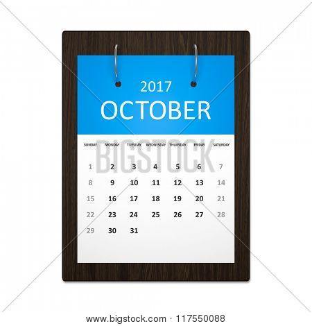 An image of a stylish calendar for event planning 2017 october