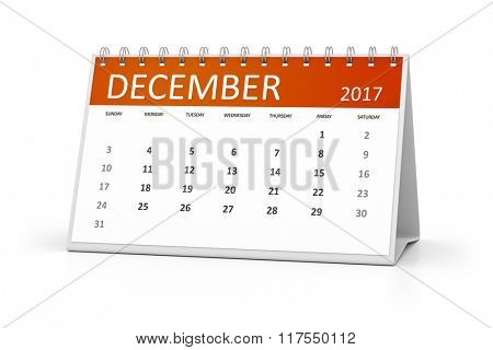 An image of a table calendar for your events 2017 december