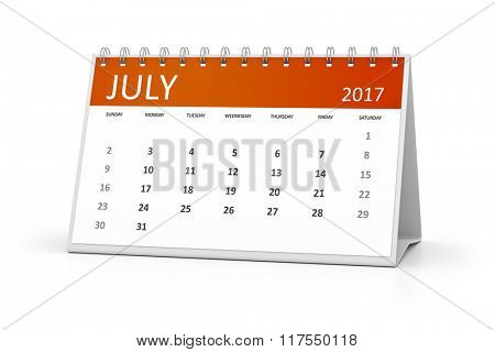 An image of a table calendar for your events 2017 july