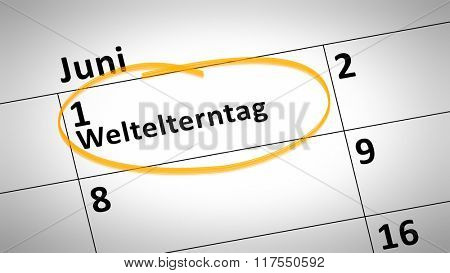 calendar detail shows world parents day first of June in german language