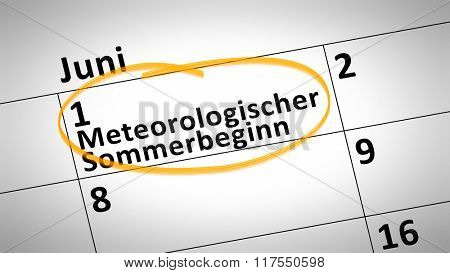 calendar detail shows Meteorological beginning of the summer first of june in german language