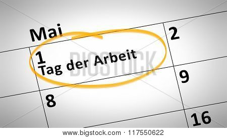 calendar detail shows Labor Day 1st of May in German language