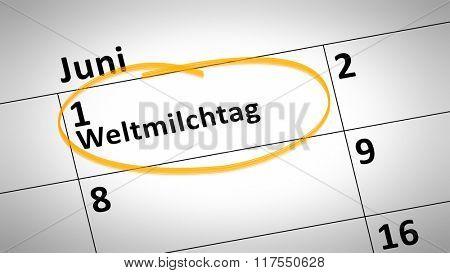 calendar detail shows World Milk Day first of june in german language