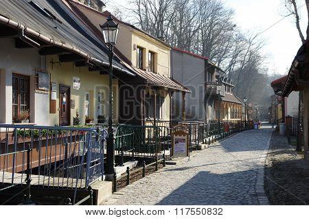 "Cieszyn, Poland, February 06, 2016. Przykopa street, residential complex called ""Cieszyn Venice"