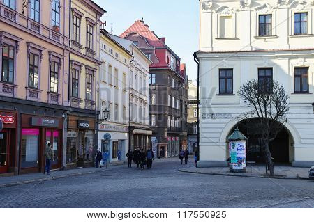 Cieszyn, Poland, February 06, 2016. City Square, townhouses in the outlet of Gleboka street.