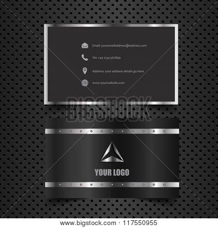 Business card layout with metallic design