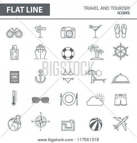 Set of modern simple line icons in flat design. Trendy infographic travel and tourism concept elements for banners, layouts, corporate  brochures, templates and web sites. Vector eps10 illustration