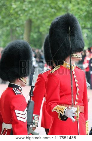 LONDON UK-JULY 6 2016: Coldstream soldier of the royal guard on parade