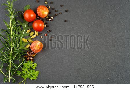 Fresh Green Herbs And Spices