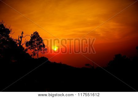Silhouetted Mountians Sunset Abstract