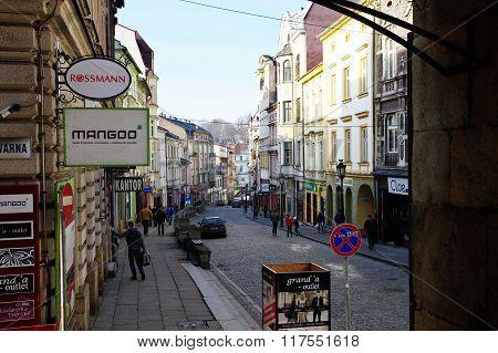 Cieszyn, Poland, February 06, 2016. Gleboka street.
