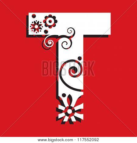 floral ABC, ornamental letter T