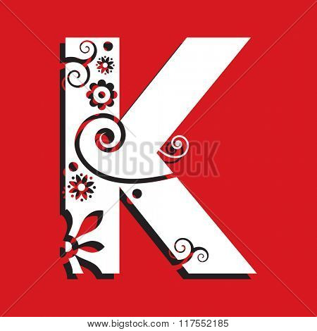 floral ABC, ornamental letter K