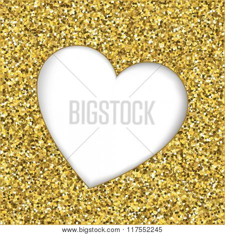 Gold glitter texture with heart cutout frame. White background with space for text. EPS10 vector format